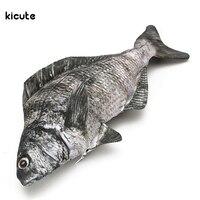 Cute Black Sea Bream Fish Shape Pencil Case Funny Zipper Pen Bag Makeup Pouch Storage Bag