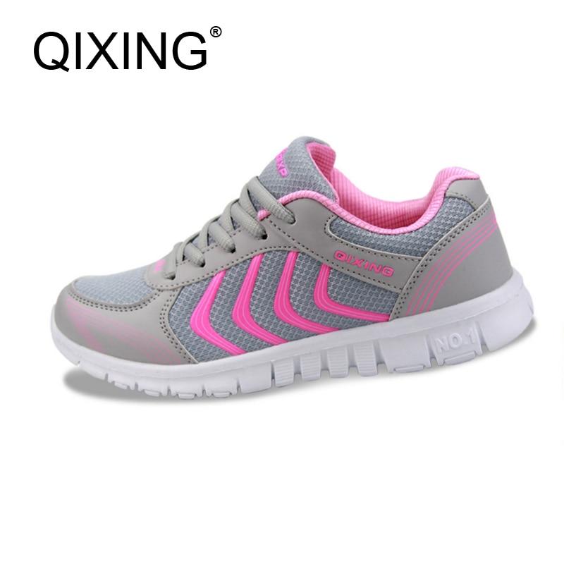 Qixing mujeres Zapatillas para correr luz deporte sneakers para las mujeres sneakers transpirable calidad marca barato deporte entrenador 912