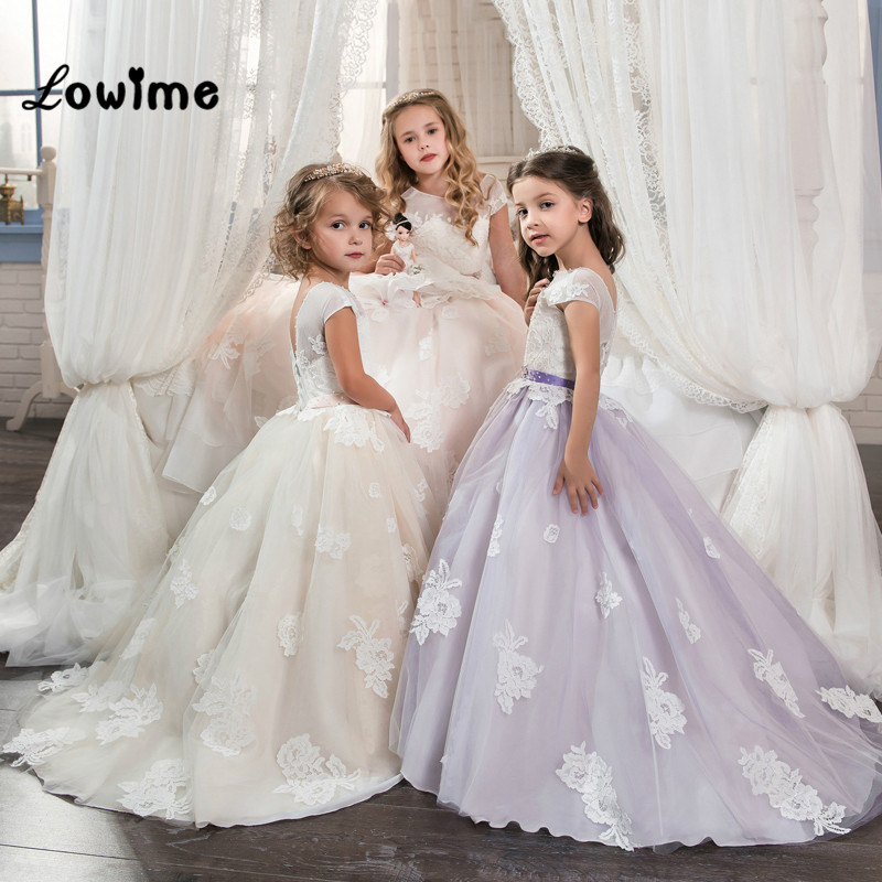 2018 New   Flower     Girl     Dresses   For Weddings Applique Pageant Gowns For   Girls   Cheap First Communion   Dresses   Vestido Daminha Purple