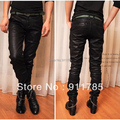 2015 new fashionable Autumn England style washed skinny Coating leather pants men black casual slim fit pants for men,28-34