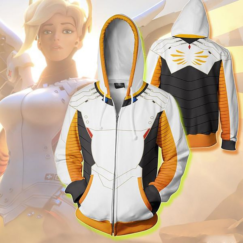 Angel Ziegler Mercy Cosplay Game OW DVA for Men and Women Costumes Anime 3D Sweatshirt Zipper Cartoon Hooded Sweater Jackets