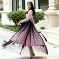 2017 Fashion New Arrivals Long Maxi High Waist Elegant Open Slide Bandage Woman Skirts 7XL Large Size Tulle Black Runway Skirts