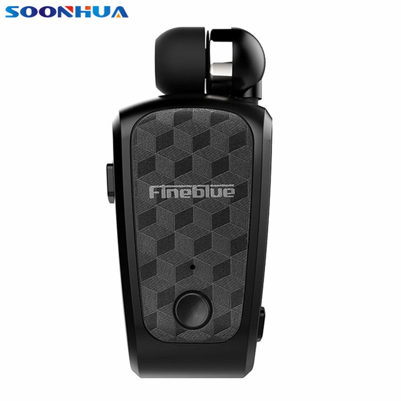Portable Fineblue FQ10 Bluetooth Clip On Earphone Retractable Earbud Long Standby Support Handsfree Call With Noise