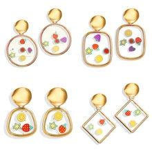 2019 New Fruit Acrylic Dangle Earrings For Women Trendy Round Drop Gold Female Geometric Wedding Bride Jewelry