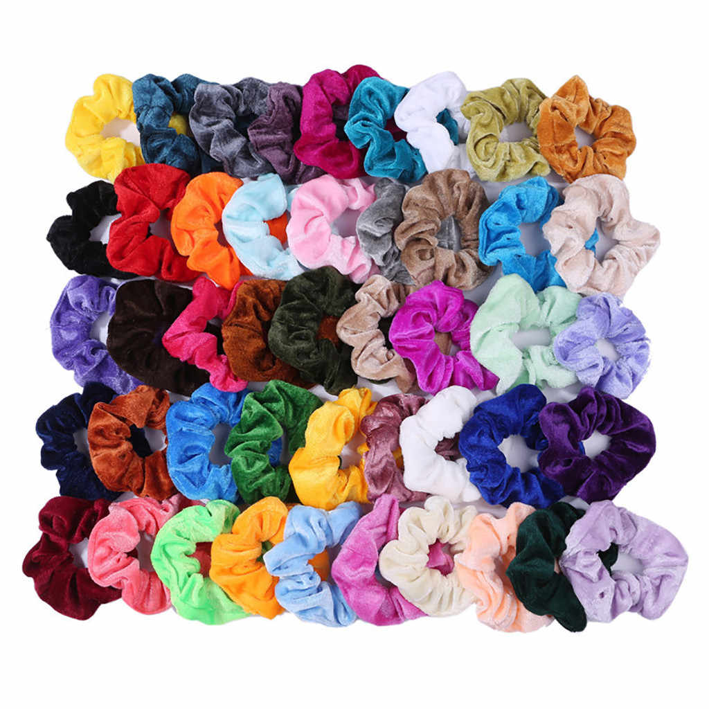 20/36/45/46Pcs Cute Candy Color Hair Bands Velvet Scrunchies Hair Ring Rope Lady Ponytail Holder Girls Hair Accessories Hot #15