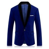 Brand Red Blue Velour Blazer Men Slim Fit Mens Velvet Blazers Casual Suit Jacket Stylish Prom
