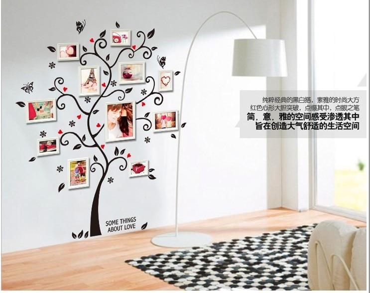 Diy photo frame tree pegatinas de pared decoración para el hogar sala de estar del diseño sofá vendimia cartel calcomanías arte de la pared decoración del hogar