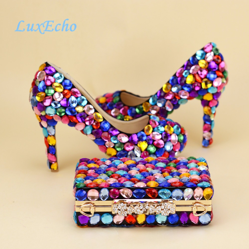 Multicolored Crystal Luxury Bride wedding shoes and bags Set womens Pumps thin heel party shoes High heels platform shoes woman aidocrystal newest biling floral crystal around women high heel pumps wedding shoes and bags