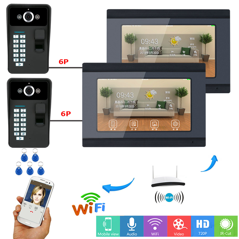 SmartYIBA Fingerprint RFID Password 7 Inch LCD Wifi Wireless Video Door Phone Doorbell Intercom System With 2 Monitor 2 CameraSmartYIBA Fingerprint RFID Password 7 Inch LCD Wifi Wireless Video Door Phone Doorbell Intercom System With 2 Monitor 2 Camera