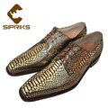 32869182761 - Zapatos sipriks para hombres de lujo con estampado de piel de serpiente dorada, zapatos con punta cuadrada, zapatos Derby italianos hechos a mano, zapatos formales con cordones de Blake Boss