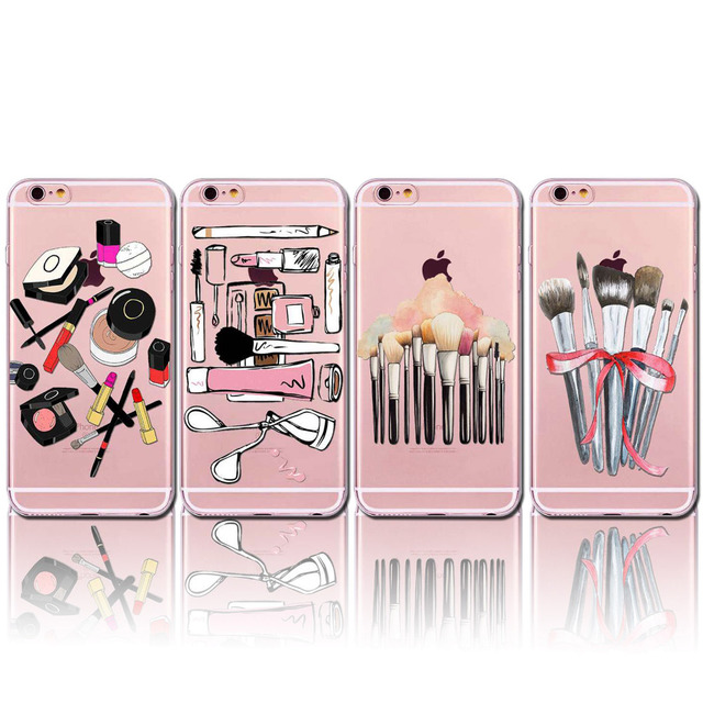 New Arrival Soft Clear Phone Case For iPhone 6 6s Plus Women Lady Girls Dresser Makeup Doodle Cosmetic Bag Brush Perfume