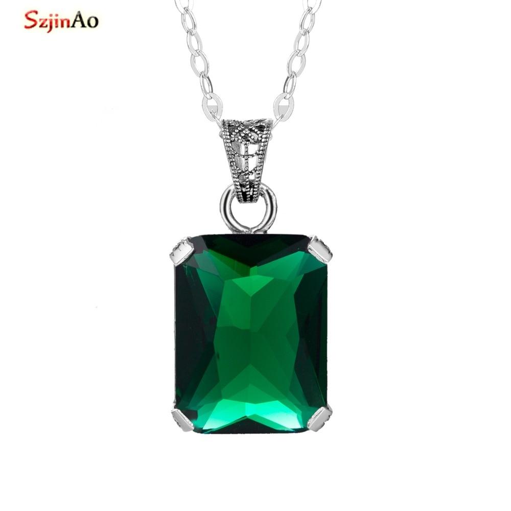 SzjinAo Genuine 925 Sterling Silver Key Necklaces Lab Emerald Gemstone Handmade Fine Jewelry Vintage Pendants for Lovers szjinao cute genuine 100