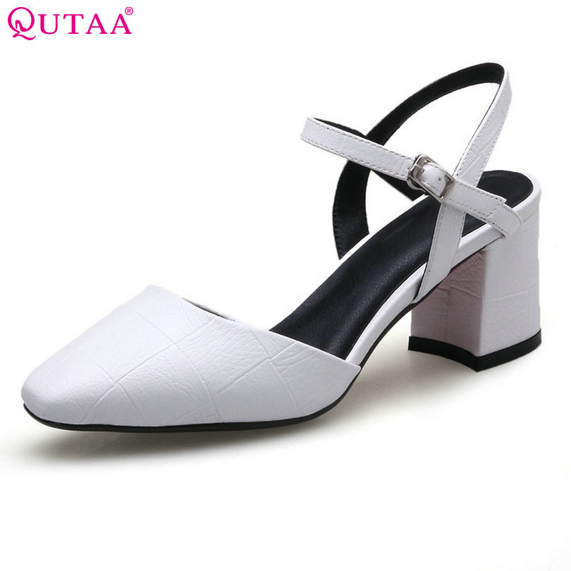 QUTAA 2017 Women Pumps Square Low Heel PU leather Pointed Toe Black Slingback Checkered Elegant Ladies Wedding Shoes Size 34-40 2015 fashion women pumps high heel pointed toe shoes soft leather elegant ladies wedding shoes red black size 34 40
