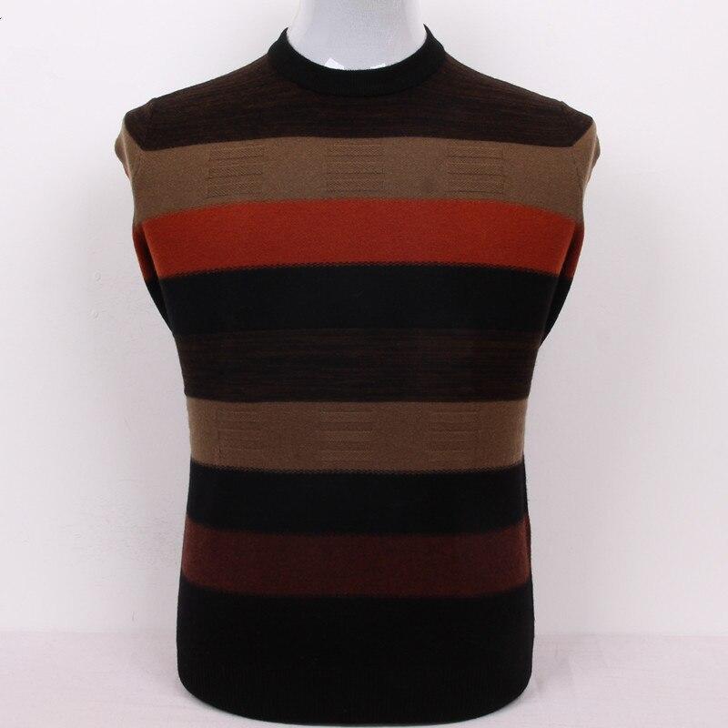 100%goat Cashmere Men's Boutique Pullover Sweater O-neck Patchwork Color Striped S/105-3XL/130