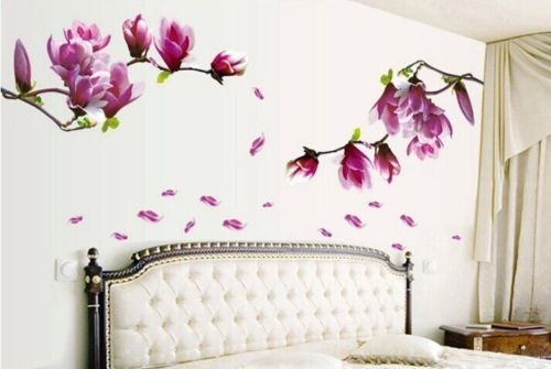Magnolia Flower Leaf Diy Art Removable 3rd Color Wall Stickers Decals House Decors Mural House Decoration