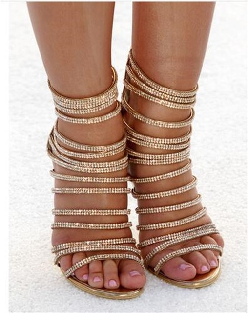 Women High Heels Stripper Sandals Summer Shoes Spring Party Sexy Diamond Crystal Thin Sandals size 42 Zipper Covered Fashion