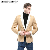 New Winter Blazer Masculino Men's Casual Suit and Cashmere Wool Lamb Composite Suede Blazer Men Fashion Solid Body Suit