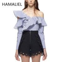 HAMALIEL Self Portrait Spring Women Shirt 2017 Runway Striped Ruffles Asymmetric Neck One Shoulder Female Cotton