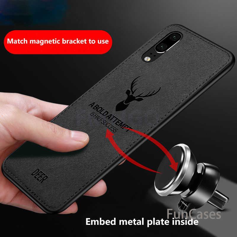 Hot Vải Kết Cấu Hươu 3D Mềm TPU Magnetic Xe Trường Hợp Đối Với Huawei P20 Pro Được Xây Dựng Trong Nam Châm Tấm Trường Hợp Đối Với Huawei p20 P20 Lite Bìa