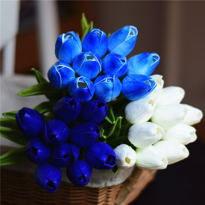 Real Touch Blue Tulip Artificial Flowers Bouquets For Bridal