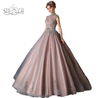 Vestido De Festa Vintage Saudi Arabia Formal Evening Dresses 2017 High Neck Lace Beading Puffy Ball