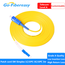 10 pièces fibra optica ftth cordon de raccordement LC/UPC SC/UPC monomode câble à fibers PVC Simplex 3.0mm 3 mètres câble de raccordement à fibers
