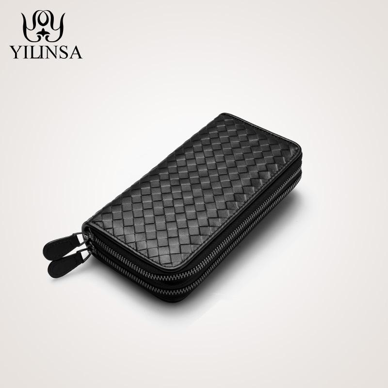 Luxury Soft Bag High Quality Genuine Leather Men Wallets Double Zipper Handbags Long Purse For Men  Passport Cover Card Holder