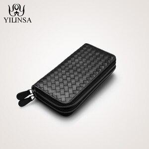 Image 1 - Luxury Soft Bag High Quality Genuine Leather Men Wallets Double Zipper Handbags Long Purse For Men  Passport Cover Card Holder
