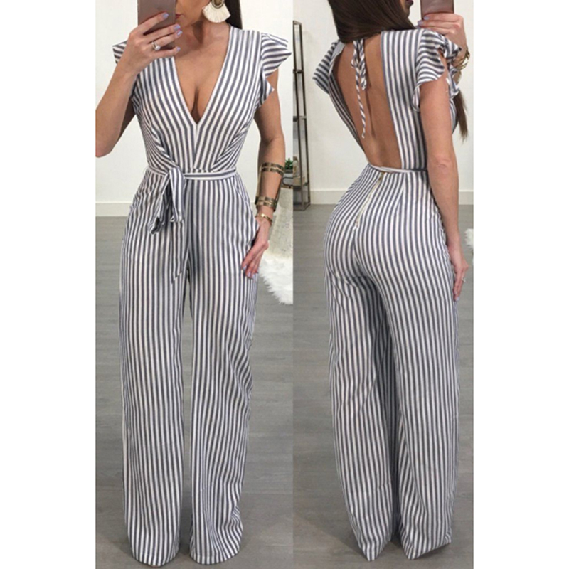 New Fashion Sexy Striped   Jumpsuits   High Waist Loose V Neck Wide Leg Pants Female Spring Summer Hot Sale Women Heigh Quality