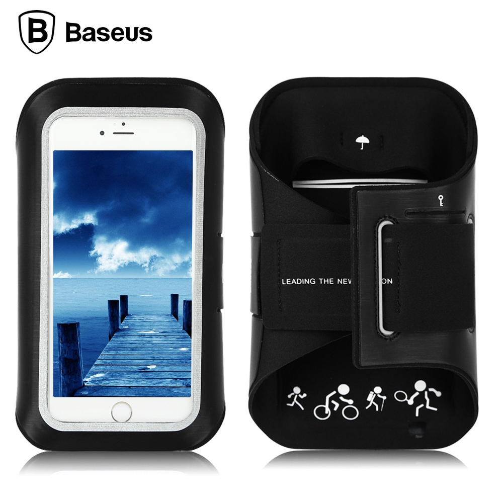 Baseus Universal Touch Sports Arm Case Armbands Dual Holes Neoprene Strap Transparent Cover Exercise Holder for Phone 5.5 inch
