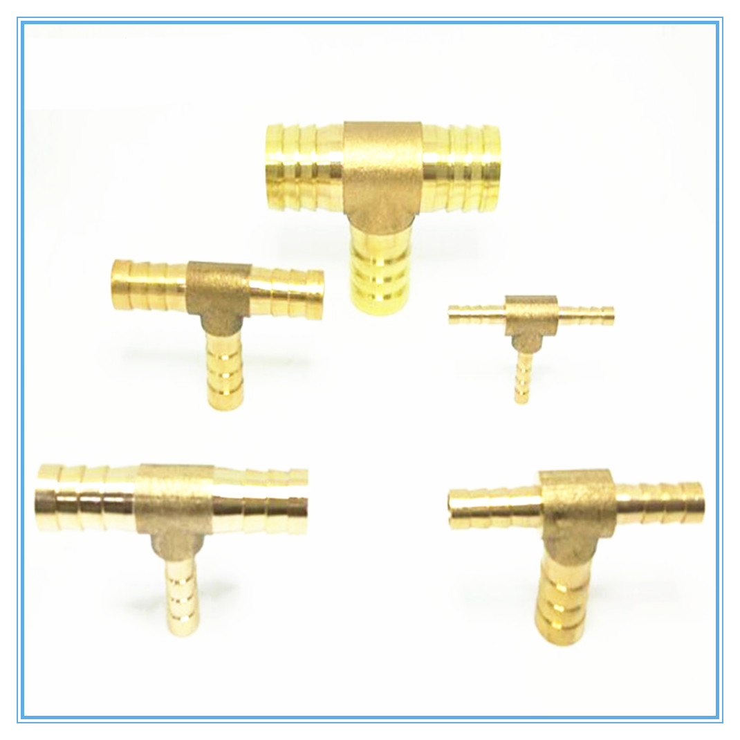 Brass Splicer Pipe Fitting T Shape 3 Way Hose Barb 4 6 8 10 12 16mm Copper Barbed Connector Joint Air Water Oil Coupler Adapter