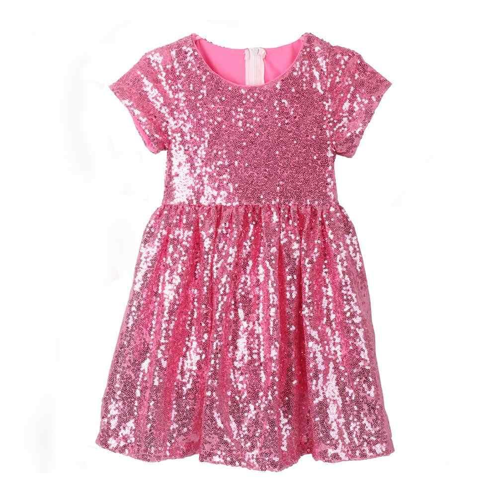 Vestido de lentejuelas para el verano con vestido de fiesta de boda para el bebé pequeño vestido de forro de algodón cómodo