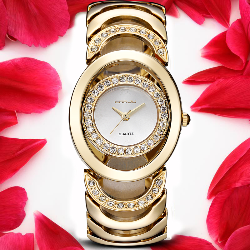 CRRJU Brand New Fashion Ladies Luxury Gold Quartz Wristwatches Women Famous Brand Rhinestone Watches Relojes Mujer Montre Femme luxury brand fashion casual ladies watch women rhinestone watches dress rose gold quartz female clock montre femme relojes mujer