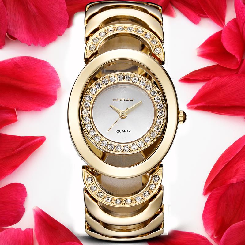 Prix pour CRRJU Marque Nouveau Dames De Mode De Luxe Or Quartz Montres Femmes Célèbre Marque Strass Montres Relojes Mujer Montre Femme
