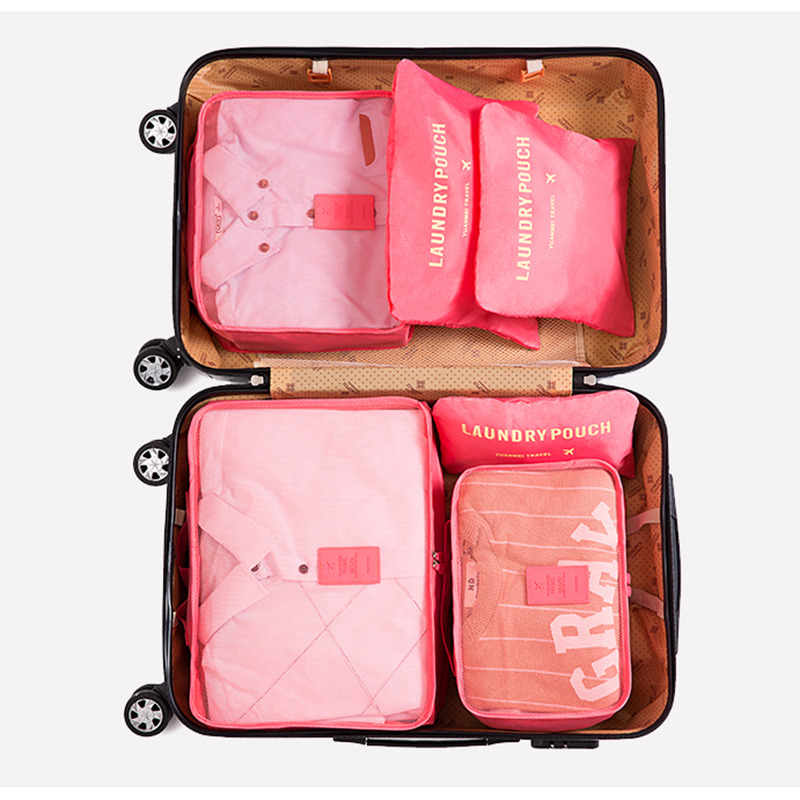 6 Pcs Travel Organizer Men And Women Luggage Travel Bags Fashion Double Zipper Waterproof Polyester Packing Cubes Organizer