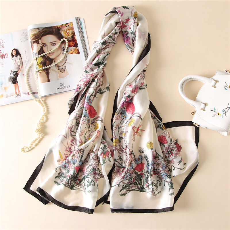 Fashion bandana 2017 100% Silk   Scarf   Luxury Women Brand   Scarves   for Women Shawl High Quality Plants Print hijab   wrap