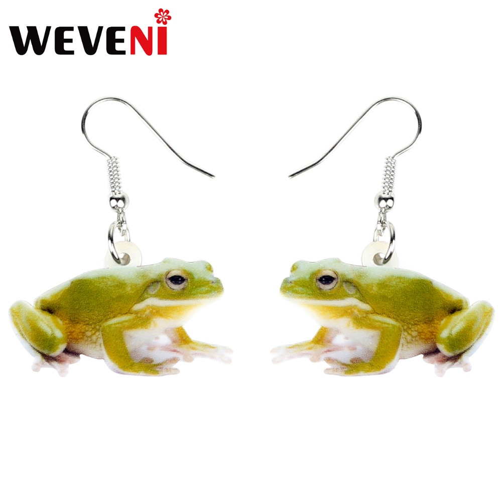 WEVENI Accessory Acrylic Cute Green Frog Earrings Dangle Drop Animal Jewelry For Women Girls Cute Party Gift Charms Dropshipping