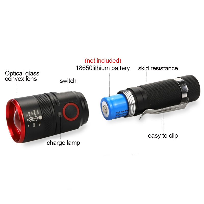 USB charging retractable zoom xm-T6 LED flashlight tactics torch USES 18650 lithium battery night bike patrol outdoor hunting