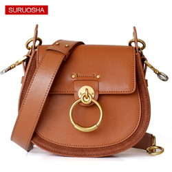 Brand Leather Fashion Lady Leather Bag Women Saddle Bag Small Shoulder Bags Metal Ring Buckle Bag Suede Quality Round Handbags