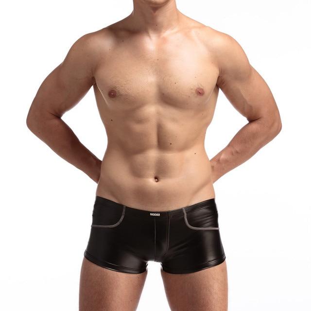 Boxer homens calcinha sexy calcinha de couro falso couro japanned traje boate plus size mens underwear boxers homme sem bolsa