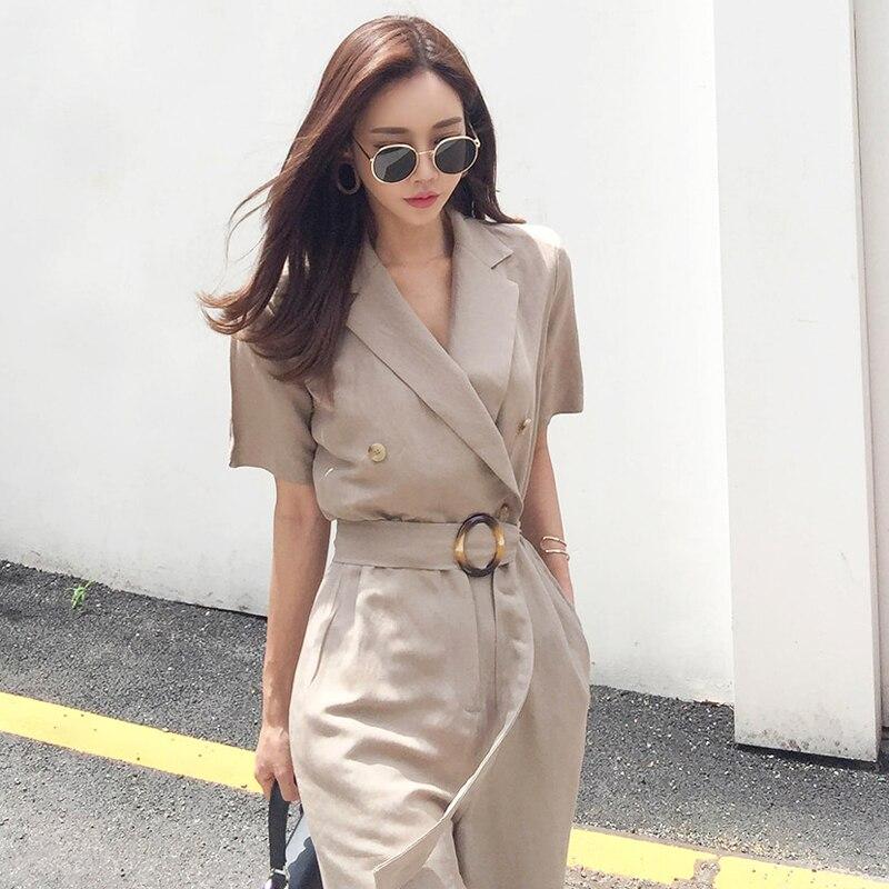 купить!  2019 лето новый корейский костюм воротник темперамент дикий модный тонкий комбинезон