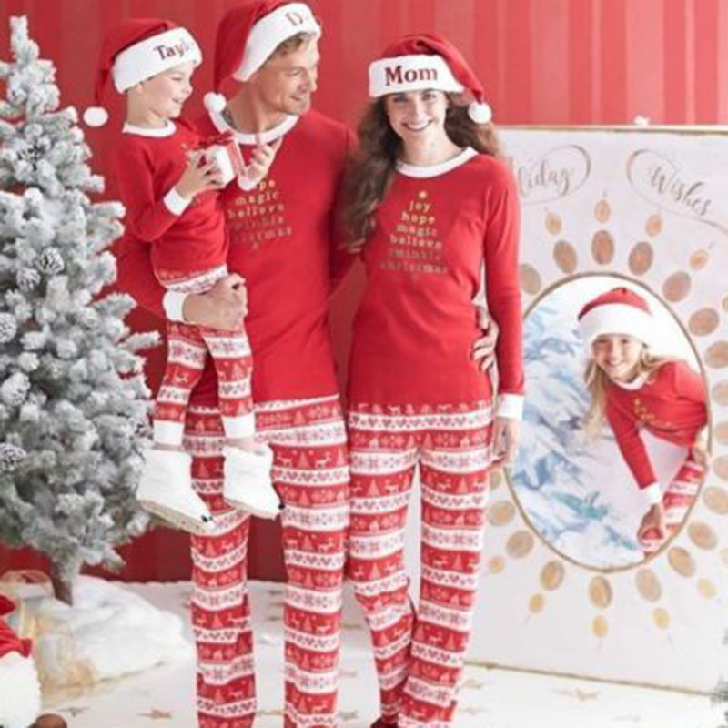 Women Men Child Christmas Parent-child Outfit Sets For Family Cotton Letter Print Pajamas Long Sleeve Sleepwear Nightwear