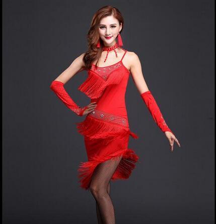 New 2017 Women Tassels Fringe Dress Rumba Samba Cha Cha Dancewear Ballroom Tango Latin Dance Skirt