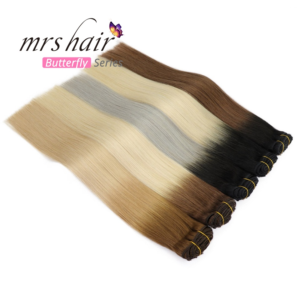 MRS HAIR Ombre Clip In Human Hair Extensions Full Hair Blonde Natural Natural Remy Hair Clip Ins Clip Balayage Hairpins Straight