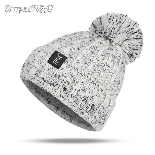 מעולה & G אופנה חורף כובע Skullies בימס החורף חם כובע Pompom נשים כפה סרוג נשי חיצוני פנאי חם כובע