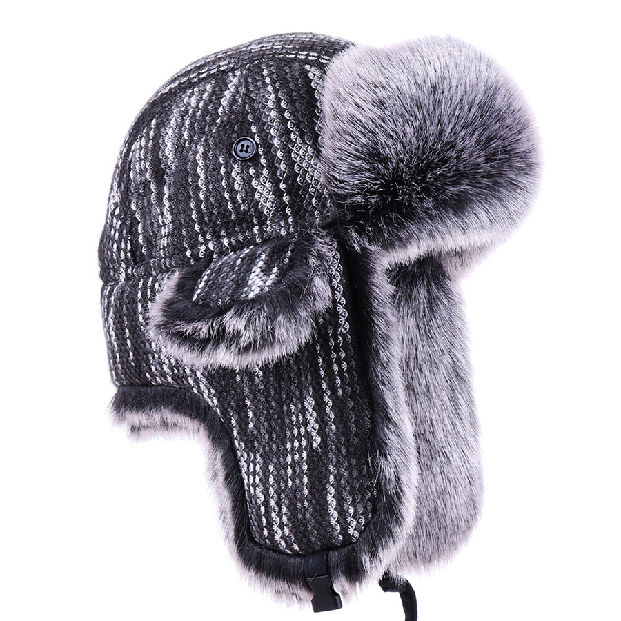 Men Trapper Hat Faux Fox Fur Russian Ushanka Winter Cotton Warm Outdoor Snow Ski Cap Wool Earflap Hunting Trooper Bomber Hats(China)