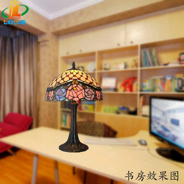 12 inch rose lampTiffany lamps American Pastoral art decorations stained glass bedroom study bedside lighting computer desk lamp