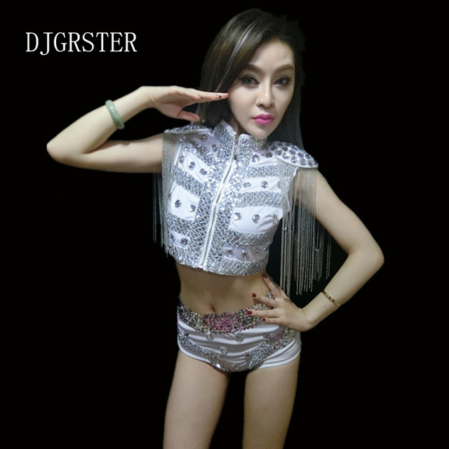 e9a278edf03 DJGRSTER 2017 sexy women jazz dance costume sequins Coat+shorts suit dj  stage costumes for