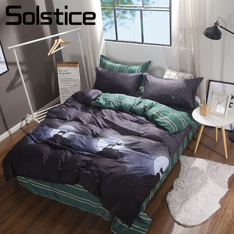 Solstice Home Textile King Twin Adult Girl Bedding Sets Kid Teen Boy Bed Linen Moon Sky Deer Black Duvet Cover Sheet Pillow Case