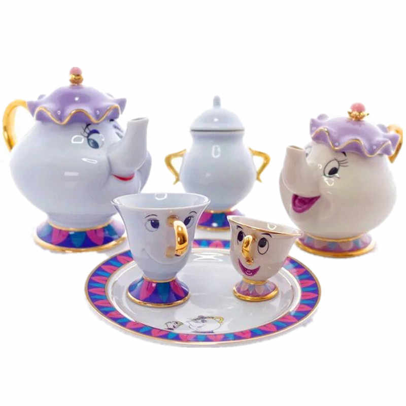 Beauty and the beast coffee mugs pot sets chip tea cups and cups sugar cans coffeeware with gift box creative drinkware
